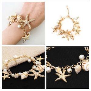 Jewelry - Starfish Conch Shell Charm Beach Bracelet Gold